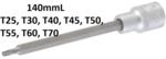 Punta de vaso longitud 140 mm entrada 12,5 mm (1/2) perfil en T (para Torx) T25
