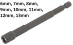 Llave de vaso hexagonal, extra larga para taladros electricos entrada (1/4)