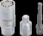 Llave de vaso multimedida con juego de adaptadores entrada (3/8) 9 - 21mm 3 piezas