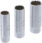 Juego de vasos para bujias 12 caras entrada 3/8, 14 - 16 - 18 mm 3 piezas