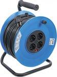Enrollador de cable 50 m 3x1,5 mm² 4 tomas IP 20 3000 W