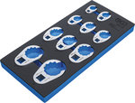 Bandeja para carro 1/3: Juego de llaves de boca hexagonal abierta (crowfoot) 10 mm (3/8) / 12,5 mm (1/