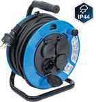 Enrollador de cable 25 m 3 x 1,5 mm² 4 tomas con tapas de cierre IP 44 3500W