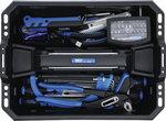 Maletín de transporte de herramientas de plastico reforzado con un surtido de herramientas de 66 pieza
