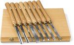 Torno de madera, mandril y cinceles de torneado