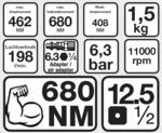 Pistola neumática de impacto 1/2, 610 Nm