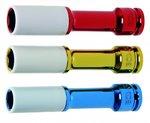 Juego 3 piezas vasos de impacto con protector de plastico 17-19-21 mm largo 150 mm