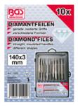 Juego de limas de diamante recta 140 x 3 mm 10 piezas