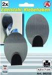 Ganchos de acero inoxidable autoadhesivo de forma ovalada, 2 unidades 4,5 x 7 cm capacidad de carga