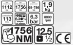 Llaves de impacto neumáticas, 12,5 (1/2) de 1756 NM