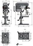 Diametro de la maquina taladradora de mesa 16 mm, 565x275x840 mm