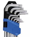 Juego de llaves acodadas extra largas con perfil en T (para Torx) T10 - T50 9 piezas_