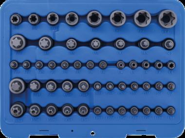 Juego de insercion de puntas y llaves de vaso Perfil E / perfil T (para Torx) / perfil T (para Torx) con orificio / perfil TP (para Torx Plus) 52 piezas