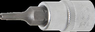 Punta de vaso entrada 6,3 mm (1/4) T-Star (para Torx Plus) con perforacion