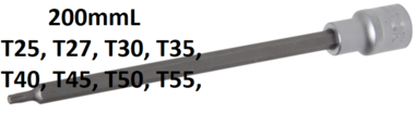 Punta de vaso longitud 200 mm entrada 12,5 mm (1/2) perfil en T (para Torx)