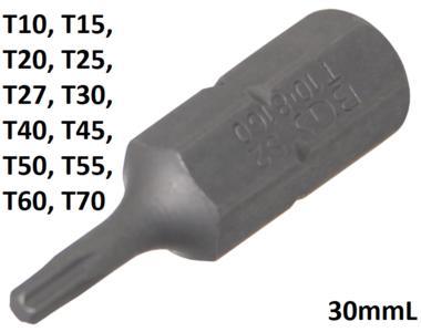 Bit 8 mm (5/16) hexagono externo perfil T (para Torx) T10