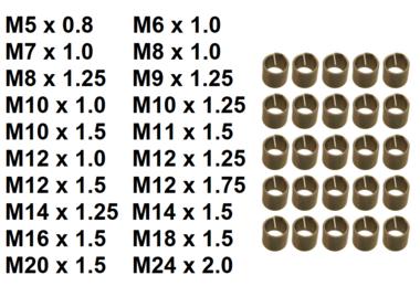Insertos roscados de repuesto M5 x 0,8 mm 25 piezas