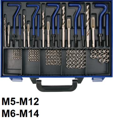 Juego de reparacion de roscas M5 - M12 - 130 piezas
