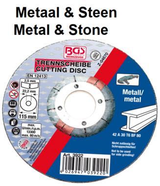 Disco de corte para metal 115 x 2,5 x 22,2 mm tipo 42