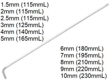 Hex interior L-Tipo de clave, extra largo 115 mm, 1.5 mm