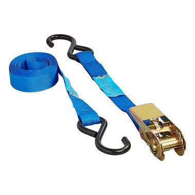Tie down strap blue with ratchet + 2 hooks 3.5 meter