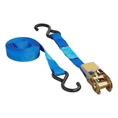 Tie down strap blue with ratchet + 2 hooks 5 meter