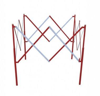 Valla de tijera cuadrada de metal Rojo/blanco