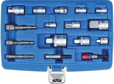 Juego de adaptadores de puntas / adaptadores de llaves de vaso 16 piezas