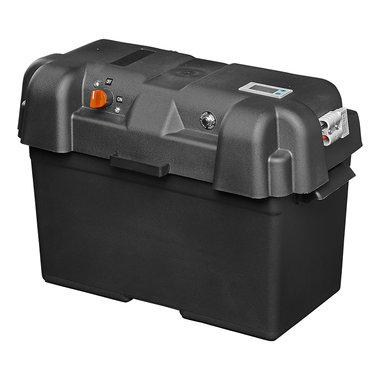 Caja de bateria 35x18x23 cm 2 USB - 1 toma a 12 V - Voltimetro - 2 conectores Anderson