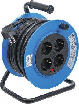 Enrollador de cable 15 m 3x1,5 mm² 4 tomas IP 20 3000 W