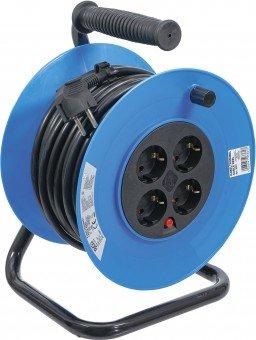 Enrollador de cable 25 m 3x1,5 mm² 4 tomas IP 20 3000 W