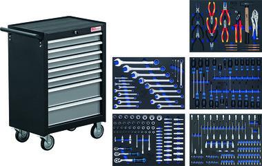 Carro de herramientas de 7 cajones BGS 2001 con 243 herramientas