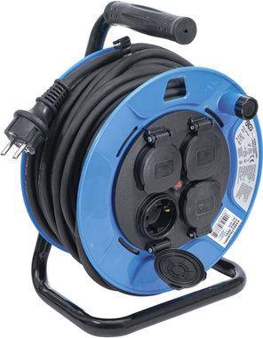 Enrollador de cable 50 m 3 x 1,5 mm² 4 tomas con tapas de cierre IP 44 3500 W