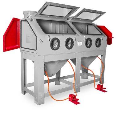 Cabina de chorro de arena 880 litros con doble estacion de trabajo