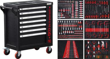 Carro de herramientas 7 cajones 1 puerta lateral con 250 herramientas