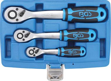 Juego de carracas reversibles dentado fino 6,3 mm (1/4) - 10 mm (3/8) - 12,5 mm (1/2) 3 piezas