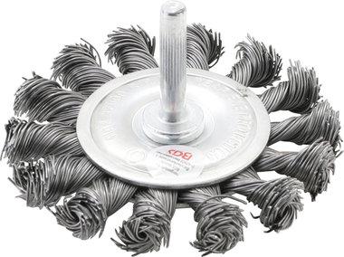 Disco de alambre eje 6 mm retorcido 75 mm