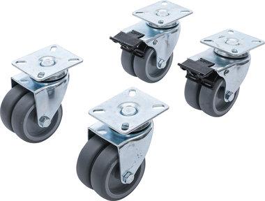 Juego de ruedas de direccion dobles para sillas de playa Ø 75 mm 4 piezas