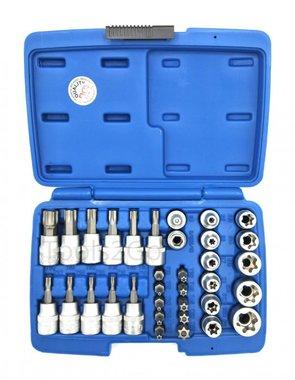 Juego de puntas y llaves de vaso (3/8) Torx 34 piezas