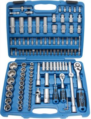 Juego de llaves de vaso perfil ondulado entrada 6,3 mm (1/4) / 12,5 mm (1/2) 108 piezas
