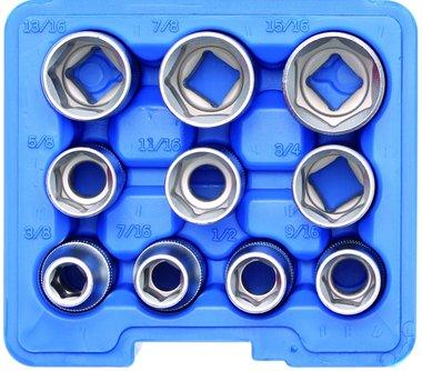Juego de llaves de vaso hexagonal entrada 12,5 mm (1/2) medidas en pulgadas 10 piezas
