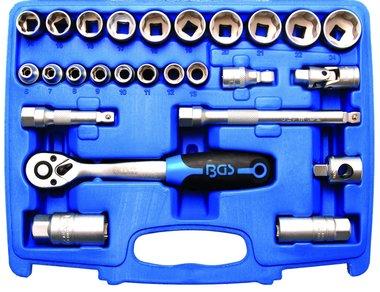 Juego de llaves de vaso perfil ondulado entrada 10 mm (3/8) 26 piezas