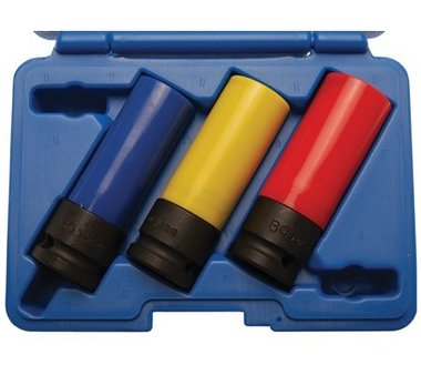 Juego 3 piezas vasos de impacto con protector de plastico 1/2, 17 - 19 - 21 mm