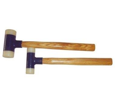 Juego 2 piezas martillos de nylon, con mango de nogal