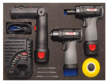 Juego de pulidor y amoladora de baterias de iones de litio de 8 piezas, en bandeja de herramientas para carretillas de taller
