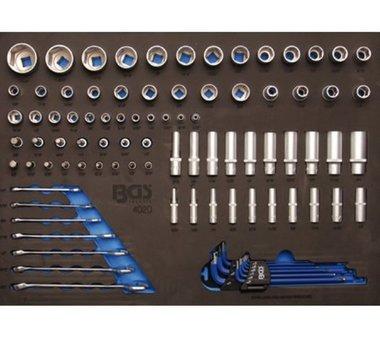 3/3 Bandeja de herramientas para carros de taller: zocalos de 90 piezas y llave de combinacion