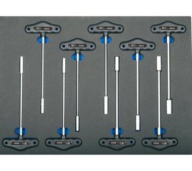 3/3 Bandeja de herramientas para carretillas de taller: Llave de tuercas de 9 piezas en forma de T