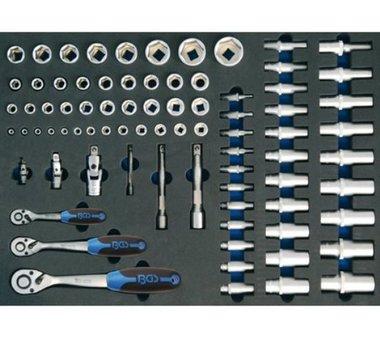 3/3 Bandeja de herramientas para carritos de taller: conjunto de trinquetes y zocalos de 80 piezas