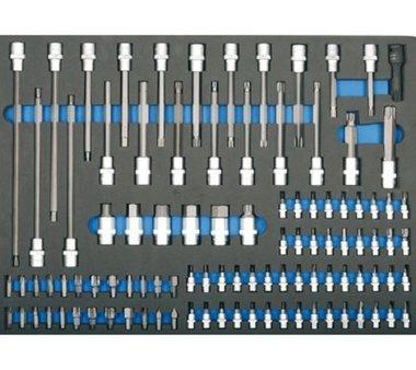 3/3 Bandeja de herramientas para carretillas de taller: Bits de 104 piezas y zocalos de bits