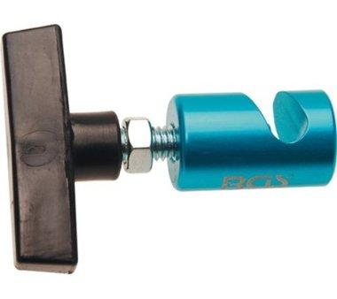 Abrazadera de bloqueo para abrelatas de capo y tronera